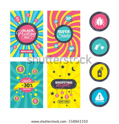 Sale Website Banner Templates Bug Disinfection Stock Vector (Royalty ...