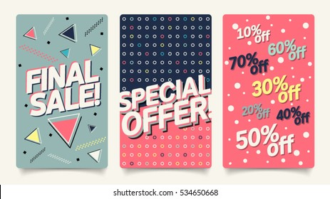 Sale website mobile banner template set. Modern and 80's, 90's style bright colorful vector for social media, posters, email, print, ads, promotional material. Final sale and special offer set.