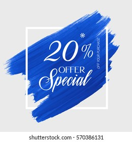 Sale weekend 20% off sign over art brush acrylic stroke paint abstract texture background vector illustration. Perfect watercolor design for a shop and sale banners.