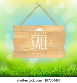 Sale Wooden Board, With Gradient Mesh, Vector Illustration