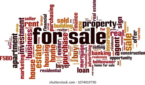 For sale word cloud concept. Vector illustration