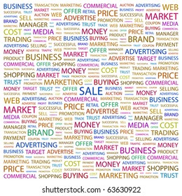 SALE. Word collage on white background. Illustration with different association terms.