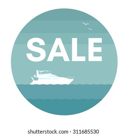 Sale and yacht. Vector illustration