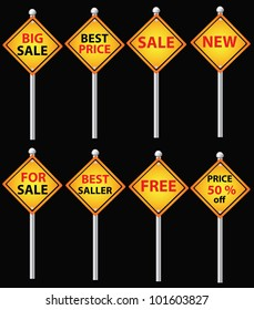 Sale yellow signpost,black background,Vector