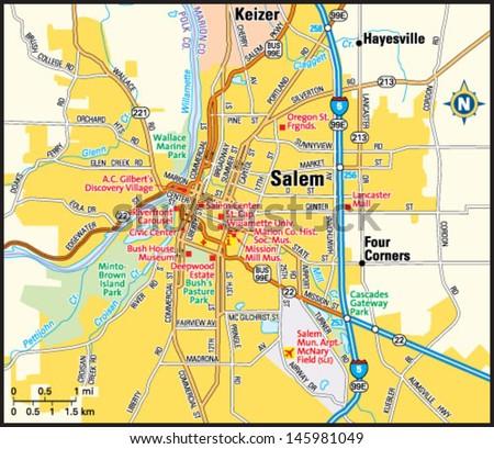 Salem Oregon Area Map Stock Vector Royalty Free 145981049