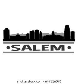 Salem Skyline Silhouette Design Vector Art