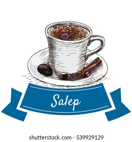Salep colorful illustration. Vector illustration of turkish cuisine.