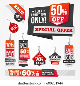 Sales Bags and Banners with Flat Style Origami Elements