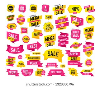 Sales banner. Super mega discounts. Sale speech bubble icon. Black friday gift box symbol. Big sale shopping bag. First month free sign. Black friday. Cyber monday. Vector