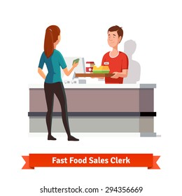 Sales clerk at fast food restaurant handing a tray with packed burger an coffee to a woman customer with cash in hand. Flat vector icon isolated on white background.