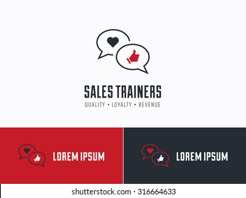 Sales consultant, sales trainer or mystery shopper company logo. Customer satisfaction, communication and service excellence symbol.