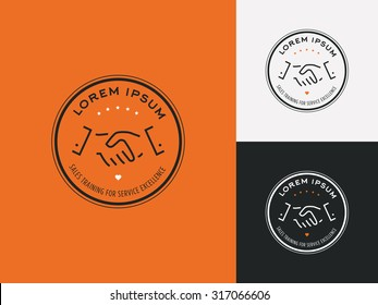 Sales consultant, sales trainer or mystery shopper company logo. Customer satisfaction, partnership and service excellence symbol.