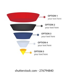 Sales or Conversion Funnel, isolated on white - Vector Infographic