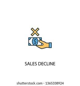 sales decline concept 2 colored line icon. Simple yellow and blue element illustration. sales decline concept outline symbol design
