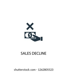 sales decline icon. Simple element illustration. sales decline concept symbol design. Can be used for web and mobile.