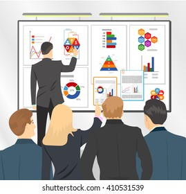 Sales director presenting business plan to team. Marketing plan in board. Flat vector stock illustration. Meeting or conference.