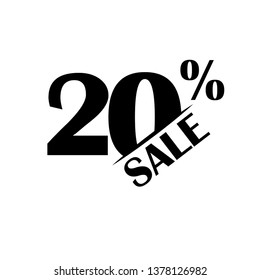 Sales discount icon. Special offer price. 20 percent - Vector