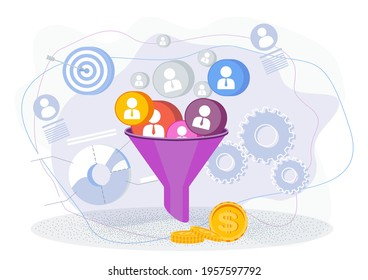 Sales funnel concept. Customer acquisition. Traffic and conversion on the website, in the store. Internet advertising. Trendy flat vector style illustration on white background.