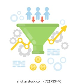 Sales funnel concept illustration on white background.