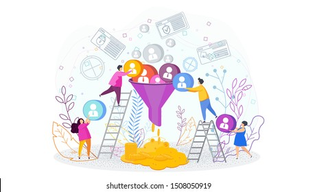 Sales funnel concept. Tiny people work on customer acquisition. Customers make a profit, money. Trendy flat vector style illustration on white background.