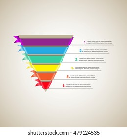 Sales funnel. Conversion funnel. Cone with 6 colored ribbons. Vector Infographic
