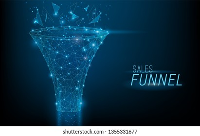 Sales funnel designed in 3D polygonal style,consisting of points, lines, and shapes on dark blue background. Vector big data or sales marketing funnel concept