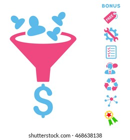 Sales Funnel icon with bonus pictograms. Vector illustration style is flat iconic bicolor symbols, pink and blue colors, white background, rounded angles.