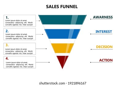 Sales funnel infographic with space for text. 4 step sales funnel vector.