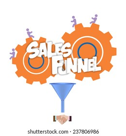 Sales funnel for infographics on a on a yellow background. Vector illustration.