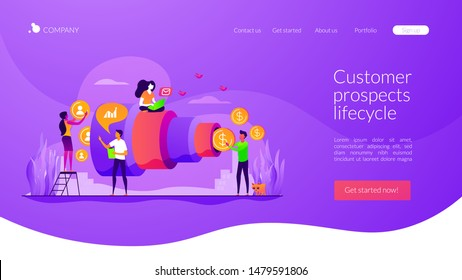 Sales funnel and lead generation. Marketing strategy. Sales pipeline management, representation of sales prospects, customer prospects lifecycle concept. Website homepage header landing web page