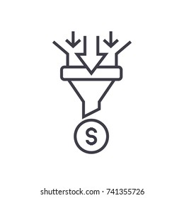 sales funnel linear icon, sign, symbol, vector on isolated background