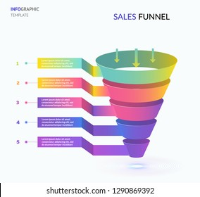 Sales funnel marketing 3d template EPS10  . Infographic or web design template