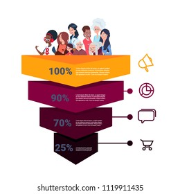 sales funnel with mix race people portrait stages business infographic. purchase diagram concept over white background copy space flat design vector illustration