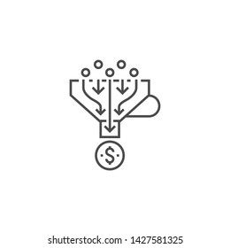 Sales Funnel Related Vector Thin Line Icon. Isolated on White Background. Editable Stroke. Vector Illustration.