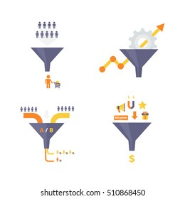 Sales Funnel set of flat design vector illustrations. Conversion optimization, lead magnets and funnel ab tests infographics elements. Internet marketing conversion concepts collection.