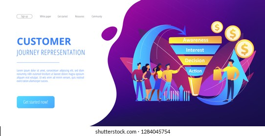 Sales funnel stages, potencial customers, buyer with purchase. Sales funnel management, customer journey representation, sales funnel stages concept. Website vibrant violet landing web page template.