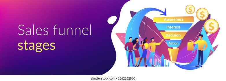 Sales funnel stages, potencial customers, buyer with purchase. Sales funnel management, customer journey representation, sales funnel stages concept. Header or footer banner template with copy space.