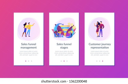 Sales funnel stages, potencial customers, buyer with purchase. Sales funnel management, customer journey representation, sales funnel stages concept. Mobile UI UX GUI template, app interface wireframe