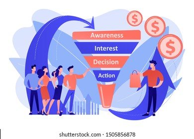 Sales funnel stages, potencial customers, buyer with purchase. Sales funnel management, customer journey representation, sales funnel stages concept. Living coral bluevector isolated illustration