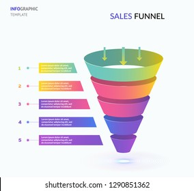 Sales funnel template for your business presentation EPS10 isometric vector
