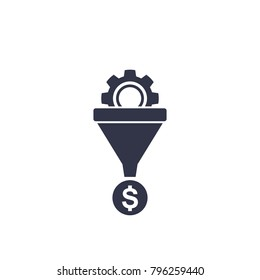 sales funnel vector icon on white