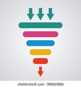 Sales funnel. Vector illustration.