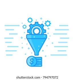 sales funnel vector illustration, digital marketing concept