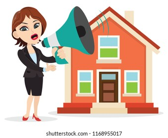 Sales girl announcing some good news holding a big megaphone loudspeaker home real estate sale rent property discount offers