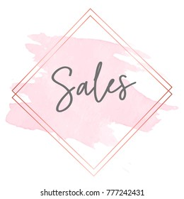 Sales gold frame and pink brush stroke, sales shop message, poster for sales, watercolor pink brush stroke. Hand drawn lettering design.