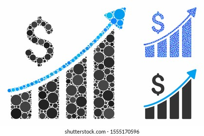 Sales growth bar chart composition of round dots in various sizes and shades, based on sales growth bar chart icon. Vector round dots are composed into blue mosaic.