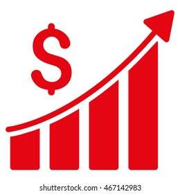 Sales Growth Bar Chart icon. Vector style is flat iconic symbol with rounded angles, red color, white background.