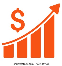 Sales Growth Bar Chart icon. Vector style is flat iconic symbol with rounded angles, orange color, white background.