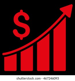 Sales Growth Bar Chart icon. Vector style is flat iconic symbol with rounded angles, red color, black background.