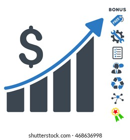 Sales Growth Bar Chart icon with bonus pictograms. Vector illustration style is flat iconic bicolor symbols, smooth blue colors, white background, rounded angles.